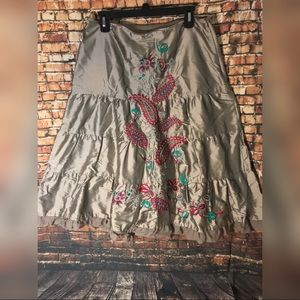 Boho Embroidered tiered full skirt Sz 10 NWT
